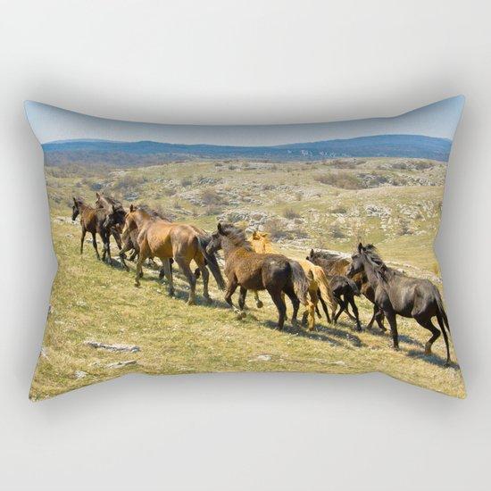 The herd of wild horses Rectangular Pillow