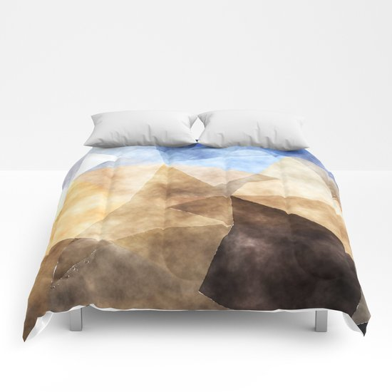 On the fields- Abstract watercolor triangle pattern Comforters