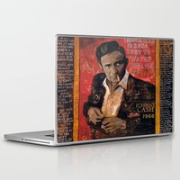 johnny cash Laptop & iPad Skins featuring Red Johnny Cash by Ray Stephenson