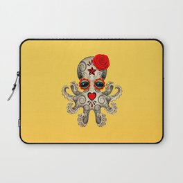 Red Day of the Dead Sugar Skull Baby Octopus Laptop Sleeve