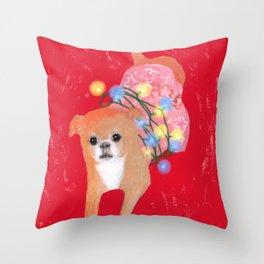 Dog in Pink Flower Dress Throw Pillow