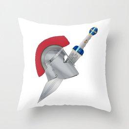 Roman Gladiator Helmet And Sword Throw Pillow