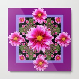 Pink Dahlia Flowers on Black-green Geometric Metal Print