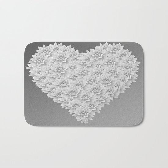 White heart Bath Mat