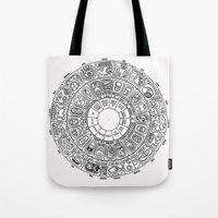 calendar Tote Bags featuring Mayan Calendar by Mantis Galleries