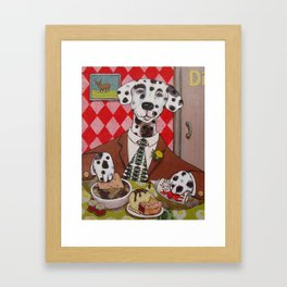 Dapper Dog Dining Framed Art Print