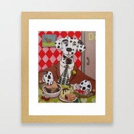 Dapper Dog Dining Framed Art Print