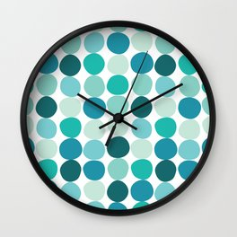 Midcentury Modern Dots Blue Wall Clock