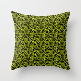 Stylish design with rotating circles and yellow rectangles from dark stripes. Throw Pillow