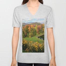 Vermont Foliage Watercolor Unisex V-Neck