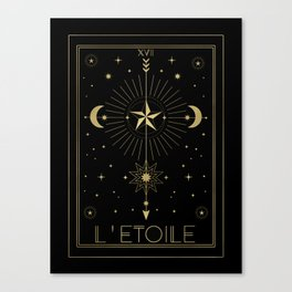 L'Etoile or The Star Tarot Gold Canvas Print