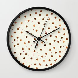 Copper Polka Dots With Red Hint Pattern Wall Clock