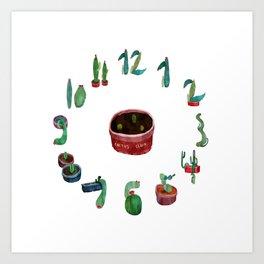 Cactos Clock Art Print