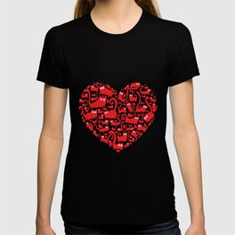 Cute red heart made from cats T-shirt