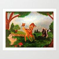 bambi Art Prints featuring Bambi by Jadie Miller