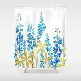 BLUE LUPINE WILDFLOWER MEADOW Shower Curtain