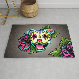 Smiling Pit Bull in White - Day of the Dead Pitbull Sugar Skull Rug