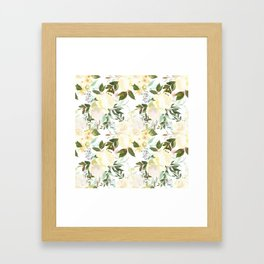 Modern yellow ivory green hand painted roses floral Framed Art Print
