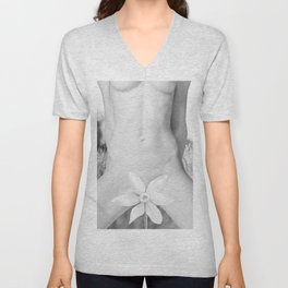 Purity. Nude woman covering with flower Unisex V-Neck