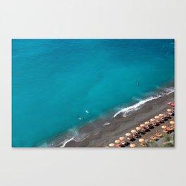 Positano Beach Umbrellas Canvas Print