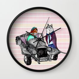 Animals and cars Wall Clock