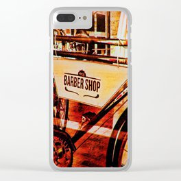 Barber shop vintage photograph of an antique bicycle Clear iPhone Case