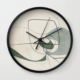 Minimalist Abstract Art Shapes - Scribbles Hunter Green 2 Wall Clock
