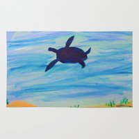 sea turtle Area & Throw Rugs featuring Turtle by Lissasdesigns