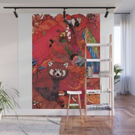 Red Animals Wall Mural