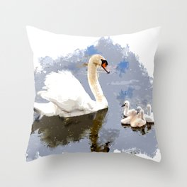 Swan and Cygnets on the Pond Throw Pillow
