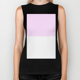 White and Pastel Violet Horizontal Halves Biker Tank
