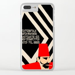 Retro geometric style German Turkish tobacco ad Clear iPhone Case