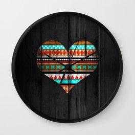 Aztec tribal heart Wall Clock