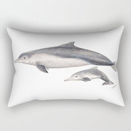 Australian humpback dolphin (Sousa sahulensis) with baby Rectangular Pillow
