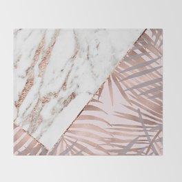 Rose gold marble & tropical ferns Throw Blanket