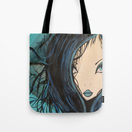Blue and Black Hair Girl Mermaid Painting by Jodi Tomer. Figurative Abstract Pop Art. Tote Bag