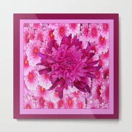 Oriental Style Purple & Pink Chrysanthemums Floral Garden Metal Print