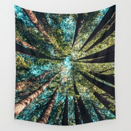 Treetop green blue Wall Tapestry