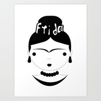 frida Art Prints featuring Frida by stavrina inno