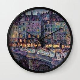 Paris - Le quai Conti along the River Seine by Maximilien Luce Wall Clock