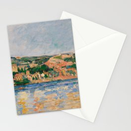 Paul Cézanne - Village at the Water's Edge Stationery Cards
