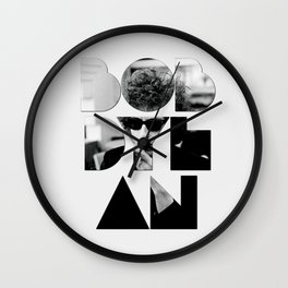 Bob Dylan Font Sunglasses Wall Clock