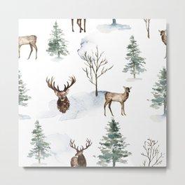 Winter Trees & Deer Pattern Metal Print