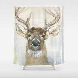 White-tailed Deer Surrounded By Birch Shower Curtain