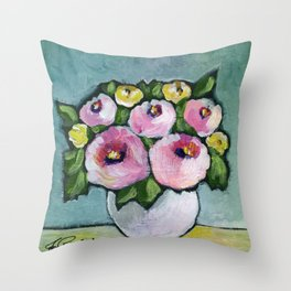 Retro Bouquet Throw Pillow
