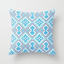 Blue embroidery pattern Throw Pillow