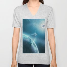 Astronaut Floating in Space Unisex V-Neck