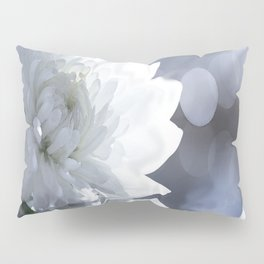White flower with bokeh on a grey background included wonderful light Pillow Sham