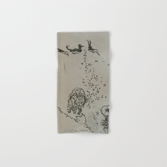 Under The Sea Green Black and White Hand & Bath Towel
