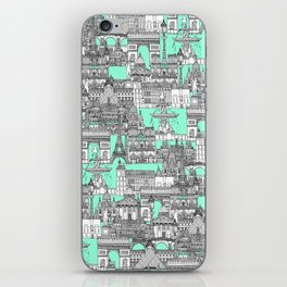 Paris toile aquamarine iPhone Skin